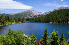 """07/52 - """"L"""" is for Landscape, Lake and Lads.. (laureanophoto) Tags: bear lake landscape mountain rocky pinetrees blue sky outdoor park national pentax 18135 wr clouds"""