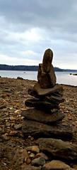 lakeside Cairn (Dave* Seven One) Tags: lakeallatoona ga lowtide water h20 rocks stones shoes junk trash debris forgotten lakeside cairn