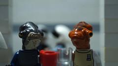 Lego Star Wars: Two Admirals (Force Movies Productions) Tags: starwars star wars rebel alliance lego rebels rebellion mon calamri rogue one movie film funny joke drink raddius ackbar admiral raddus milk minifig toy crab photograpgh return jedi