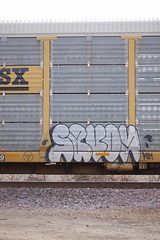(Chicago City Limits) Tags: freight train graffiti benching graff freights railroad rail rails road tracks fr8 art artwork throwies throw up throwup throwups auto rack racks autoracks holy roller rollers holyrollers holyroller locomotive spray paint nikon d50