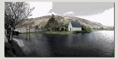Gougane Barra. (Phil-Greaves.) Tags: gouganebarra church small lake mountains landscape cork county ireland blackandwhite colour gouganebarralake