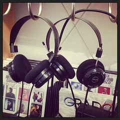 Headphones (Samantha Evans of TSI Photography) Tags: instagramapp square squareformat iphoneography uploaded:by=instagram xproii foursquare:venue=4c811d886bd49521776ebdd2 headphones hooks records music black sliver foam metal plastic cable cord wood wall sweetmelissarecords mariettaga marietta ga mariettasquare iphone iphonetography instagram