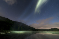 Lake Light (erika eve) Tags: sky lake mountains water night afterdark trilliumlake mthoodnationalforest