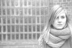 Jana (Juliet Alpha November) Tags: portrait bw woman white black cute texture film window girl beautiful face wall analog scarf grey gesicht pattern jan wand grau delta portrt 400 stunning teenager sw analogue frau ilford muster schwarz schal weis schn hbsch meifert
