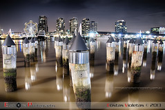 Melbourne Docklands (violetaS_gr PRO(www.euphoriaphotography.com.au)) Tags: sky water wheel night buildings lights boat ship post melbourne ferris docklands reflexion