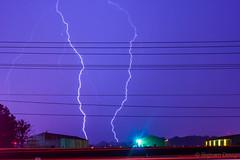 Lightning in a field - strong in columbus ohio (bighamdesign) Tags: lighting field rain clouds canon 50mm airport nikon strong lightning thunder hanger lightningstrike seriese 550d t2i duallighting