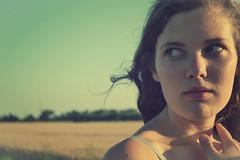 Doubt (Wonderwoman,) Tags: sunset summer sun nature girl beautiful smile field hair eyes sonnenuntergang sweet natur feld doubt augen sonne mdchen lcheln haare schn wunderschn ss