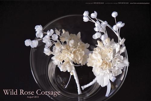 訂製系列-野玫瑰新郎胸花花飾(無染色)