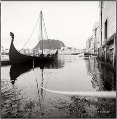 Alesund_The old harbour_Hasselblad (ksadjina) Tags: 6x6 film norway analog norge blackwhite scan alesund hasselblad500cm silverfast kodak400tmax 10min adoxaph09 nikonsupercoolscan9000ed carlzeissdistagon40mmf14