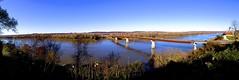 Hermann, Missouri (m.beth) Tags: november autumn fall apple nature river missouri hermann missouririver blueskys iphone 2013 iphone5panorama