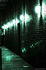 ...Agents Are Coming (redfibres) Tags: street blue light shadow green lamp wall night contrast canon eos lowlight alley doors glow path bricks grain duotone noise added ef70200mmf4lisusm 1000d