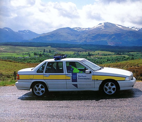 Northern Constabulary Volvo patrol car Spean Bridge 2000