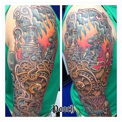 Steampunk firefighter sleeve #steampunk #steampunktattoo #firefighter #pooch #tattoo #poochart