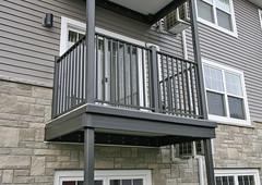 Wahoo pre-fabricated balconies include railing, substructure framing and decking, all in one.