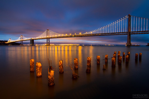 Bay Bridge after sunset
