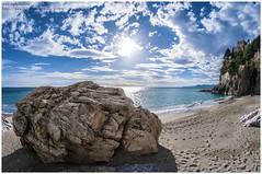 The rock (Gottry) Tags: sea sky panorama sun holiday beach sport rock clouds landscape sand nikon nuvole mare outdoor liguria wide fisheye cielo finale sole 8mm roccia spiaggia vacanza sabbia fortezza fortess ligure d90 samyang 2013 gottry emanuelerinaldi wwwerphotoseu