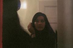 (change | of | scenery) Tags: reflection girl makeup lightleak mascara smena8m