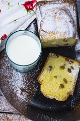 cake with raisins and a glass of milk (gorobina) Tags: christmas two food orange brown white holiday yellow cake closeup fruit festive easter season bread dessert holidays advent bright sweet board traditional side decoration tasty plate raisins sugar gourmet celebration delicious homemade german slice bakery snack pastry icing marzipan dried tradition piece aromatic bake fruitcake raisin isolated baked stollen powdered