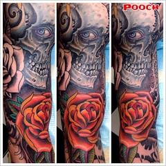 Skull is healed, did the rose and background tonight #rose #skull @tattooculturemagazine @tattooartistmagazine @neotatmachines @fusionink_ca #poochart @newtraditionalgallery @art_collective_skulls