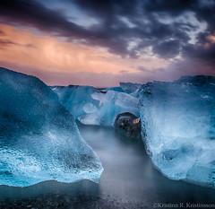 Colours (Kristinn R.) Tags: sea sky ice beach clouds sunrise blacksand iceland nikon jkulsrln d3x nikonphotography breiamerkursandur kristinnr