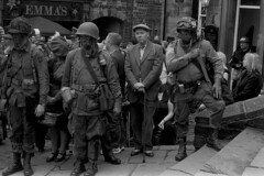 Soldiers awaiting remembrance parade (Julian Dyer) Tags: vintage blackwhite events yorkshire 35mmfilm ilforddelta400 fujicast705 haworth ilfordddx haworth1940sweekend haworth1940s