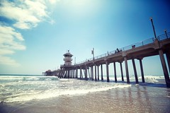 Huntington Beach Pier (Brian A Petersen) Tags: california county ca blue sky orange cloud tower beach water canon pier sand waves huntington wide lifeguard beaches orangecounty huntingtonbeach mmiii brianpetersen 5dmk3