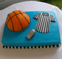 Referee Basketball Sheet Cake (MammaTessies) Tags: basketball referee turquoise whistle groomscake