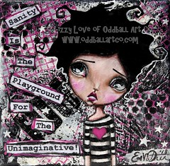 "Mixed Media Painting ""Imagination"" by Lizzy Love (Lizzy Love ♥ Oddball Art Co.) Tags: girls cute art girl dark painting bigeyes artwork whimsy artist quote mixedmedia surrealism gothic emo goth surreal canvas kawaii etsy whimsical bigeye popsurrealism bigeyedart bigeyeart swoa"