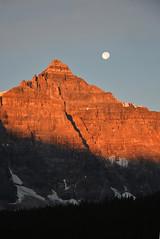 mt babel with moon @moraine lake (eqdwei) Tags: moon mountain lake canada reflection sunrise alberta rockymountain banff morainelake