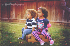 (Krista Cordova Photography) Tags: fall kids portraits children sister brother suitcase brothersister greengrass cutekids hispanicchildren africanamericanchildren