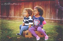 (Krista Cordova Photography) Tags: fall kids portraits children sister brother suitcase brothersister greengrass cutekids hispanicchildren africanamericanchildren