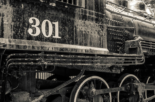 old black locomotive engine details