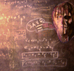 SAVE ! (lookseeseen) Tags: art skull zombie math mathematics slate chalkboard