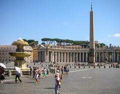The obelisk in St Peter's Square (Tiigra) Tags: 2007 italy rome vatican architecture church city column fountain monument road spire lazio vaticancity