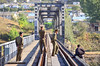 At the bridge of Yalu Bridge (哈局巡道工) Tags: digital river nikon korea fx northkorea dprk yalu d600 鸭绿江 集安