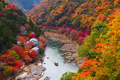 Katsuragawa in Arashiyama () () Tags: japan kyoto autumnleaves autumncolours momiji arashiyama     redleaves katsuragawa m43  katsurariver    mirrorless microfourthirds  olympusm14150mmf4056 olympusomdem5 hoshinoyakyoto