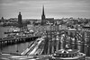 View of Stockholm (Meripihka) Tags: above city travel winter sky white holiday snow black cold monochrome night buildings landscape lights cityscape view sweden stockholm january roofs