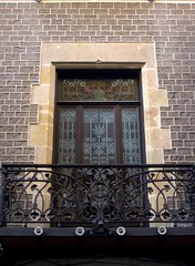 Stained glass window and balcony of Palau Mornau - Art Nouveau in Barcelona (Sokleine) Tags: barcelona architecture spain details catalonia espana artnouveau espagne barcelone catalogne catalanmodernism dcorarchitectural