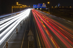 Highway A2 - Before the tunnel (PeterWdeK) Tags: red white signs cars lights highway long exposure utrecht traffic rood wit snelweg vision:outdoor=0672