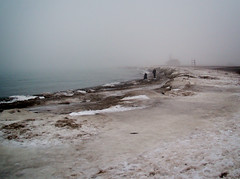 Icy Beach (Viv Lynch) Tags: winter lake snow toronto ontario canada storm cold ice water fog sand greatlakes icestorm beaches snowing lakeontario deserted thebeach freshwater 2014 2013
