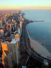 Chicago from John Hancock Observatory (pr0digie) Tags: city sunset chicago tower skyline downtown lakemichigan observatory johnhancock