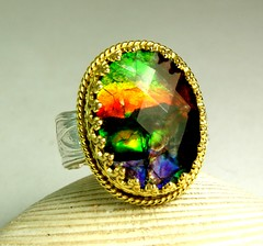 Ammolite Ring, Solid Gold, Sterling, Eureka Springs Art, Handmade Tazzies Jewelry, Faceted Rare Stone (tazziesjewelry) Tags: art silver jewelry ring faceted arkansas sterling tazzie wearable custom rare artisan solid eurekasprings filigree gemstone silversmith 14kgold ammolite umique