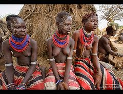 Karo girls with face paint in Kolcho on the Omo River, Ethiopia (jitenshaman) Tags: poverty africa travel girls black beauty paint pretty african traditional makeup teenagers teens tribal bodypaint teenager destination omovalley tradition ethiopia tribe custom karo bizarre ebony primitive ethiopian thirdworld omo ethnicminority southomo worldlocations kolcho loweromo