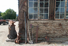Old and New live Together (Jocey K) Tags: windows newzealand como car vintage estate shed tools winery alexandra villa southisland centralotago comovillaestatewinery
