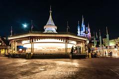 Carousel - Magic Kingdom (NOLA_2T) Tags: longexposure blue castle yellow night dark lights orlando nikon flickr sigma carousel disney explore disneyworld wdw waltdisneyworld magickingdom uwa d90