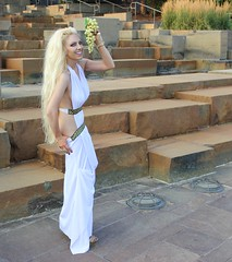 Luna as Spartan Queen Moon Goddess (I*Am*The*Great*Moon*Goddess*) Tags: hair greek model toes long cosplay roman painted magic goddess queen blonde 300 gown playful myth toenails spartan