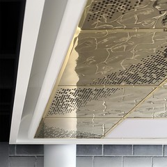 Cassette Ceiling with 3D Water Finish (Detlef Schobert) Tags: en water 3d construction pattern steel interior dry ceiling decke finish suspended cassette stainless false fittings perforation 304 kassette innenausbau aisi rostfrei edelstahl lindner 14301 goldcolored trockenbau kassettendecke goldfarben chromnickelstahl abgehängte exyd chromiumnickel exydm wasseroptik musterperforation wwwexydcom