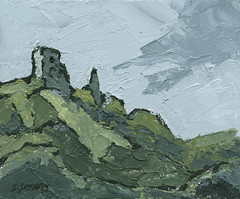 Dryslwyn Castle - Painting by Steve Greaves (Steve Greaves) Tags: uk england black green castle art monument wales clouds painting landscape grey sketch ancient acrylic panel board south yorkshire ruin expressionism expressionist impressionism welsh impressionist gesso barnsley maquette dryslwyn emilnolde kyffinwilliams palettknife