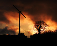Wind power (crusader752) Tags: sunset windturbine silhouettes silhouette clouds gate bales