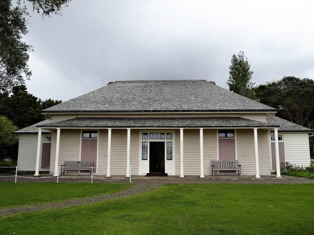 Bay of Islands New Zealand. Front view of Waitangi House or Treaty House as it is now known.